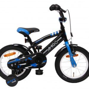 AMIGO BMX Fun 14 Inch 21 cm Jongens Terugtraprem Zwart/Blauw