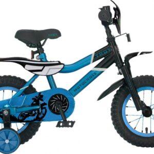 Troy Motorcross 16 Inch 26 cm Jongens Terugtraprem Blauw