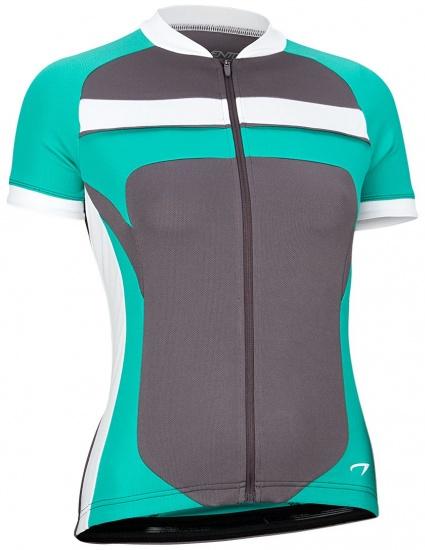 Avento Fietsshirt korte mouw dames antraciet/wit/turquoise maat XL