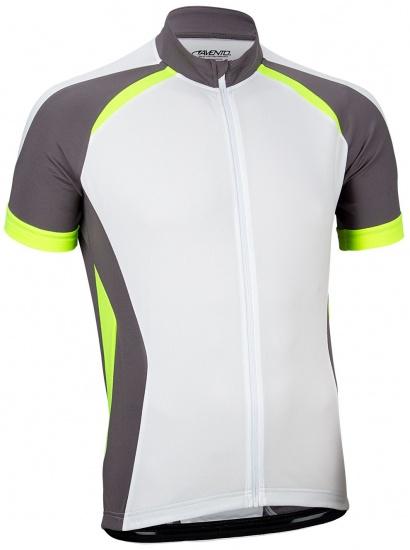 Avento Fietsshirt korte mouw heren wit/antraciet/fluorgeel maat L