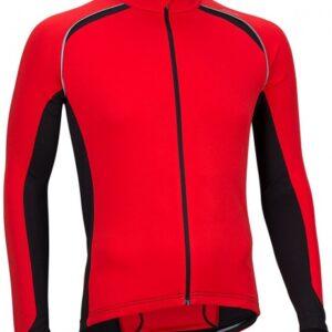 Avento Fietsshirt lange mouw heren rood/zwart/wit maat S