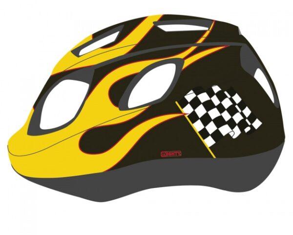 Mighty Helm Junior Race Zwart Geel Maat 52/56 cm