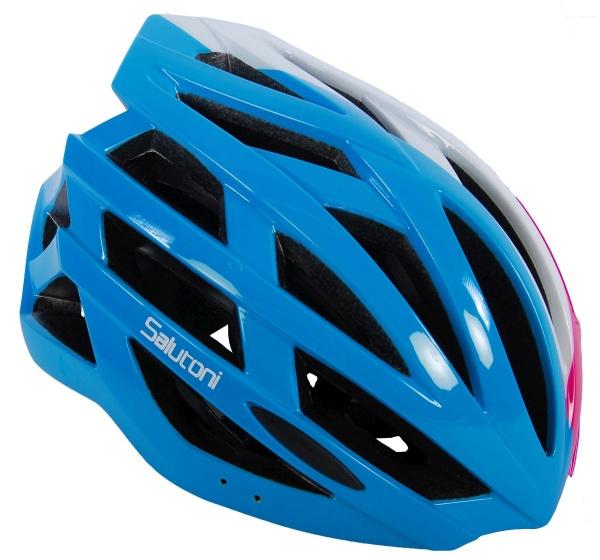Salutoni fietshelm dames blauw/wit/roze 58-61 cm