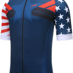 Protective fietsshirt P-Meteor heren polyester blauw/wit/rood